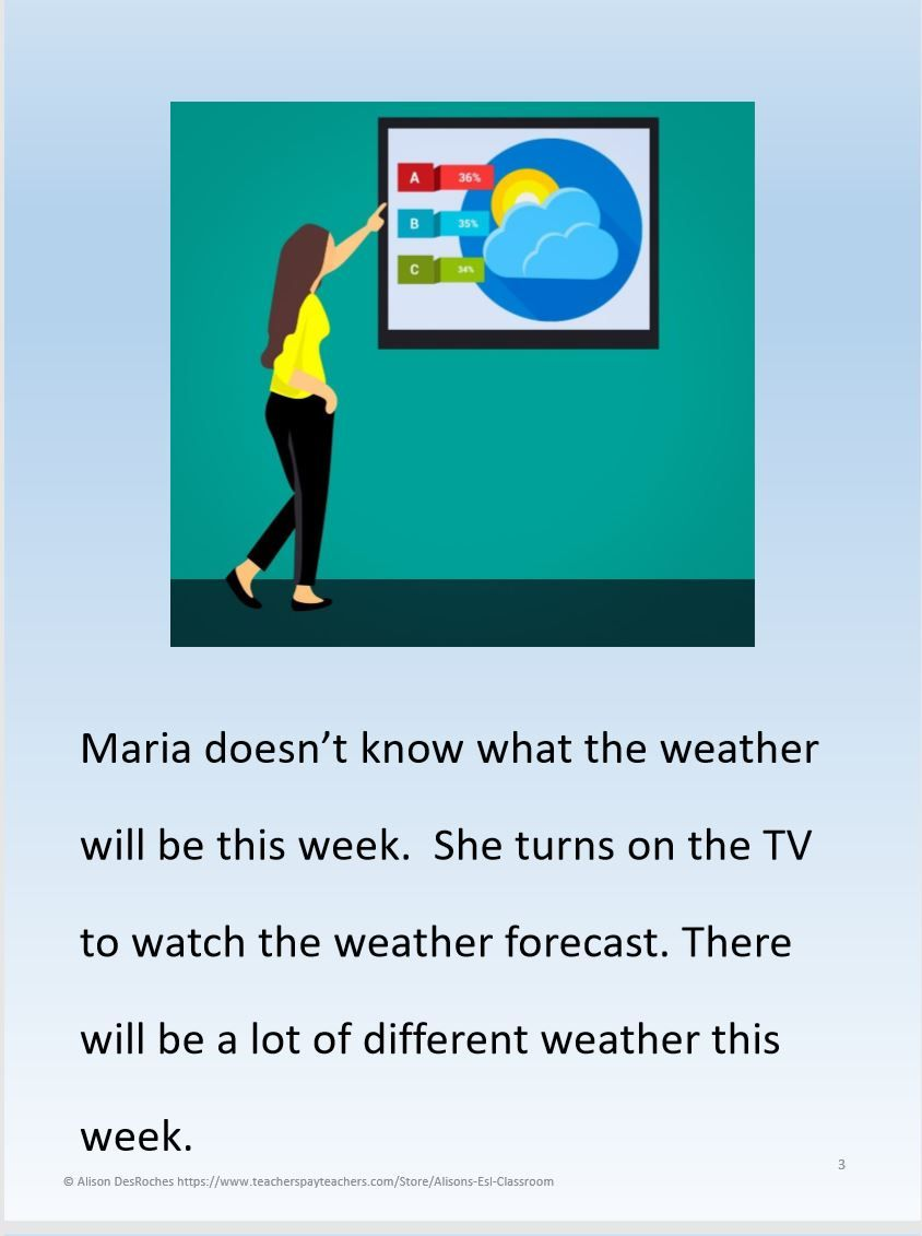 Weather Story | Visual aids | Esl resources, Future tense, Visual aids