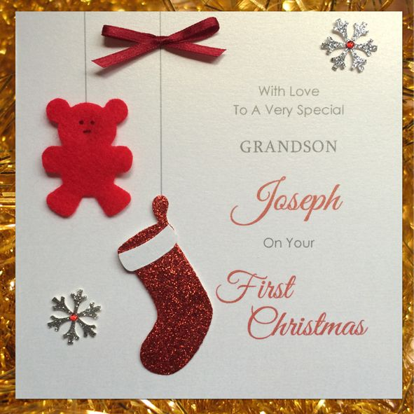Personalised Handmade Baby S First Christmas Card Christmas Cards Handmade Baby S First Christmas Card Personalised Christmas Cards
