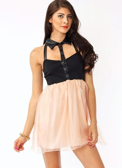 cut-out tulle contrast dress $36.40