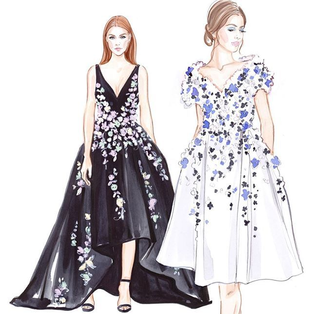 С первым днем весны!!) #fashion #ralphandrusso #inspiration #fashionillustration #fashionart #lenaker #fashionillustrator #style #watercolor