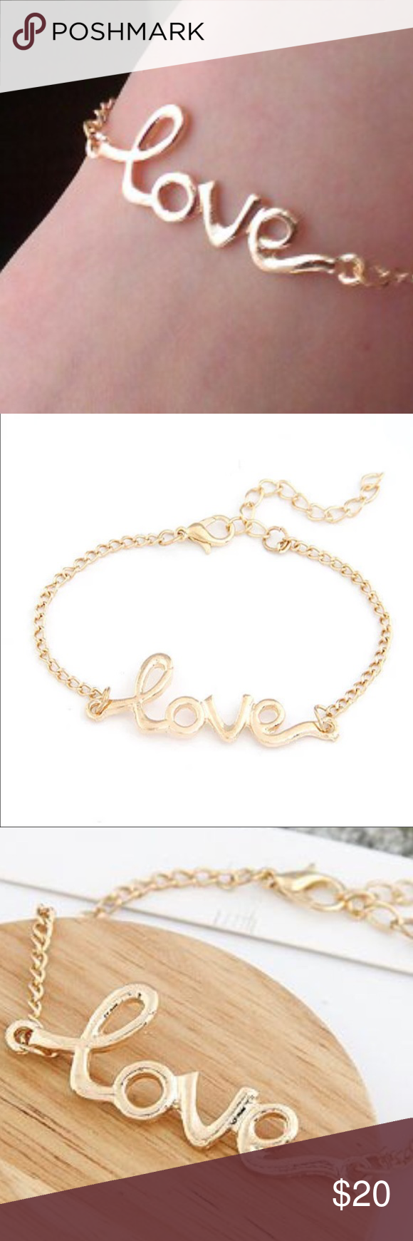 """""""Love"""" bracelet gold LOVE This nice gold plated love chain bracelet is a cute inspirational bracelet that can be worn by itself or with your favorite jewelry. Only available in Gold🎀bundle to receive discount pearl street Jewelry Bracelets"""