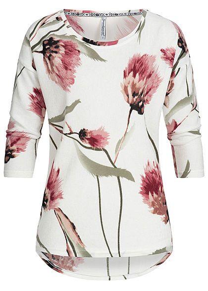 90b2cc2173f855 Seventyseven Lifestyle Damen 3 4 Arm Soft Shirt Blumen Muster off weiss  rosa - Art