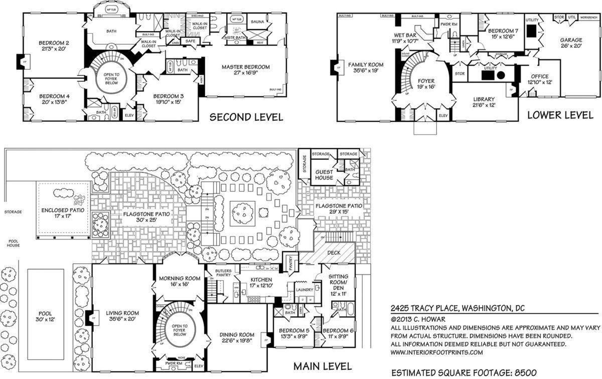 Mega mansion house plans - Kalorama Mansion Floor Plan