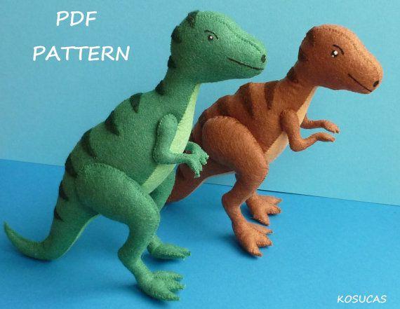 PDF sewing pattern to make a felt tyrannosaurus | Animales / Animals ...