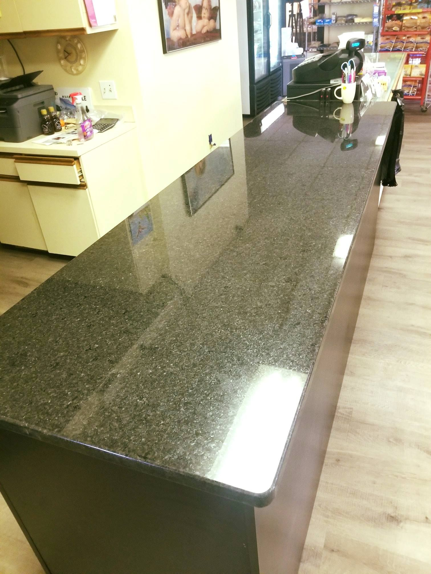 Magnificent Black Pearl Color Granite Used For Custom Made Office Countertop Is Designed Polished Installed By Kb Fa Countertops Kitchen Countertops Design