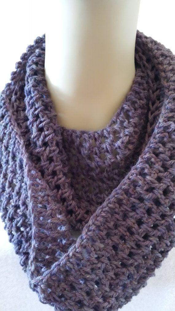 Crocheted Infinity Cowl Scarf Purple Peruvian Highland wool