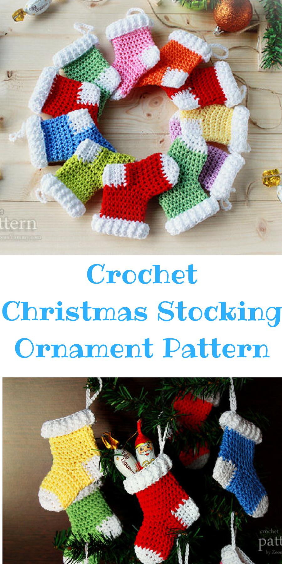 Crochet Christmas Stocking Ornaments Easy Pattern Christmas