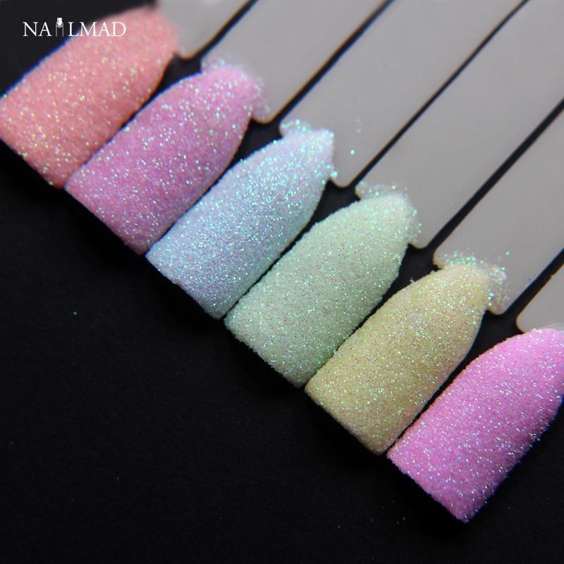 6colors NailMAD Pastel Nail Glitter Set Nail Art Glitter Powder Dust ...