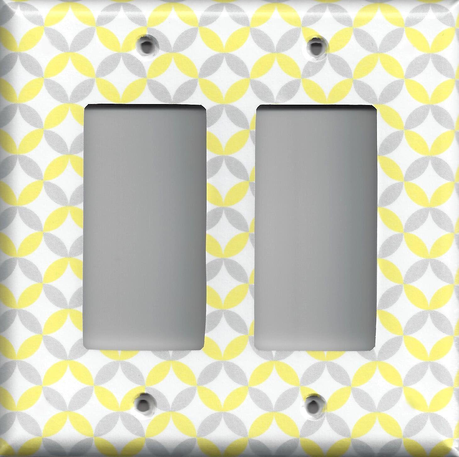 Light Yellow & Gray/Grey Geometric Circles Light Switchplates ...