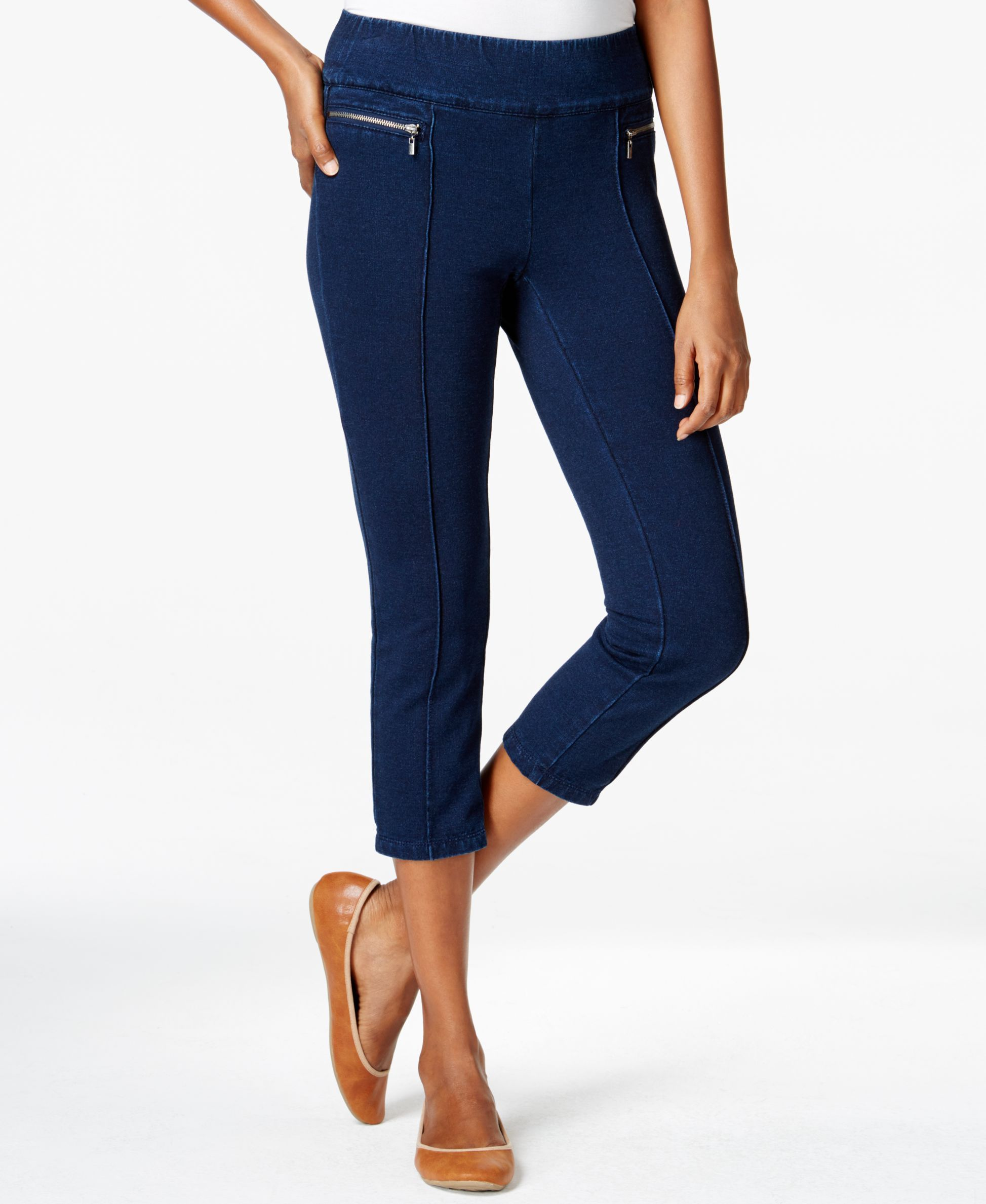 Style & Co. Petite Capri Jeggings, Indigo Wash, Only at Macy's ...