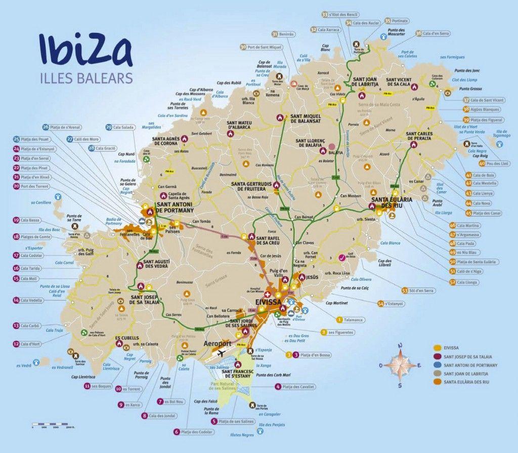 Ibiza Cartina Spagna.Mappa Spiagge Ibiza Ibiza Ibiza Spagna Spiagge