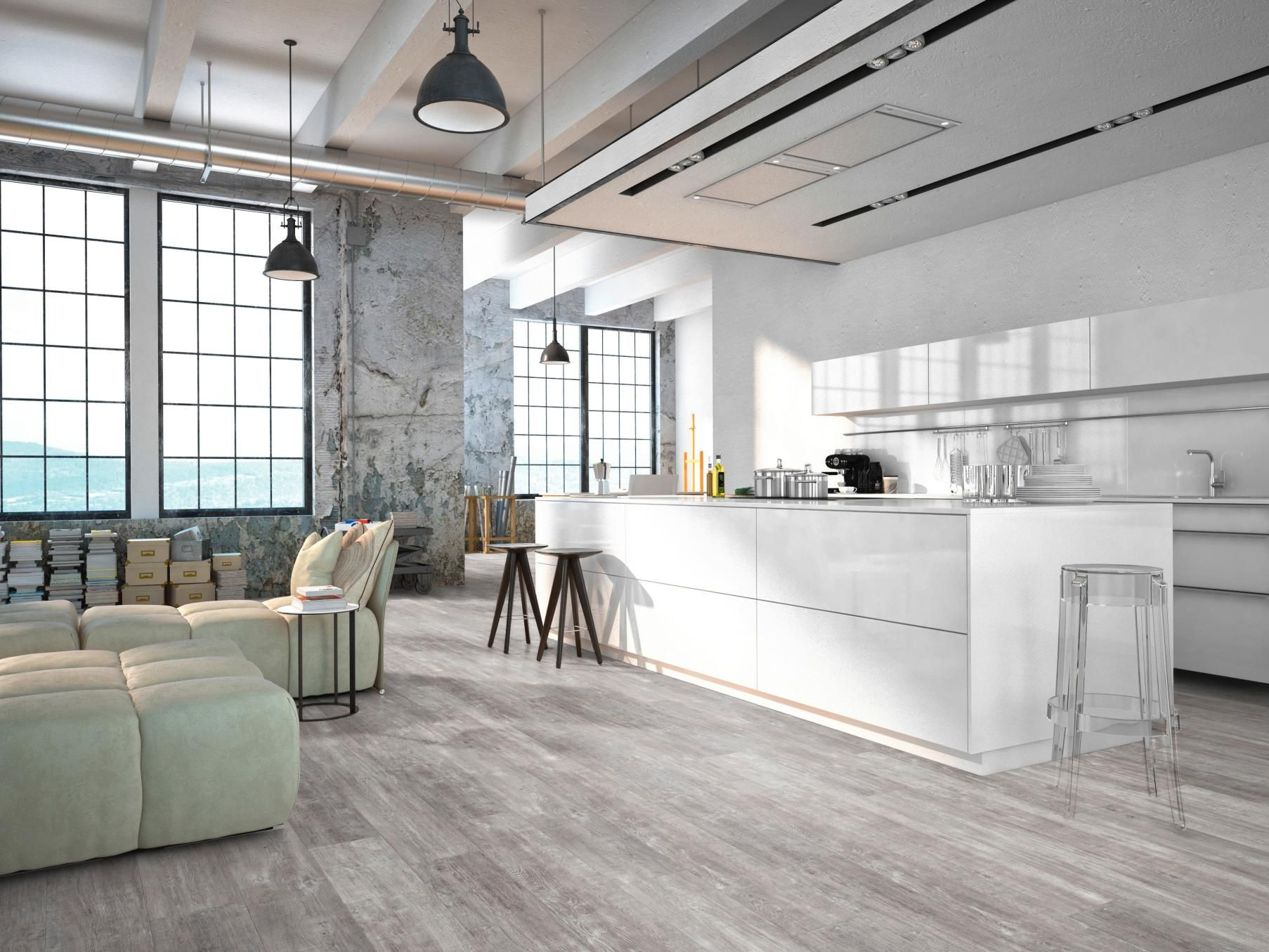 Sol vinyle virtuo clic b ton griff gris dalle 36 x 69 6 - Decoration loft industriel ...