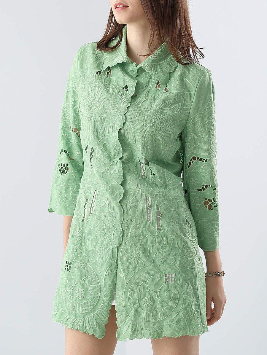 Cut Out Embroidered Coat - GREEN M