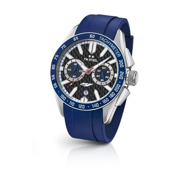 TW Steel Watch YAMAHA FACTORY RACING GS03: This model sports a big caliber chrono movement, a carbon dial with the YZR-M1 logo and a blue rubber strap.