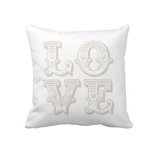 Linen Beige Love Square Vintage Typography Throw Pillow