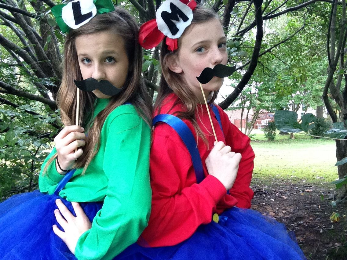 Mario and Luigi (girl edition) This is a super cute and easy costume for any time. We made this together and it super cute. We will definitely be wearing this more than just Halloween. Check out how to make this at the link above
