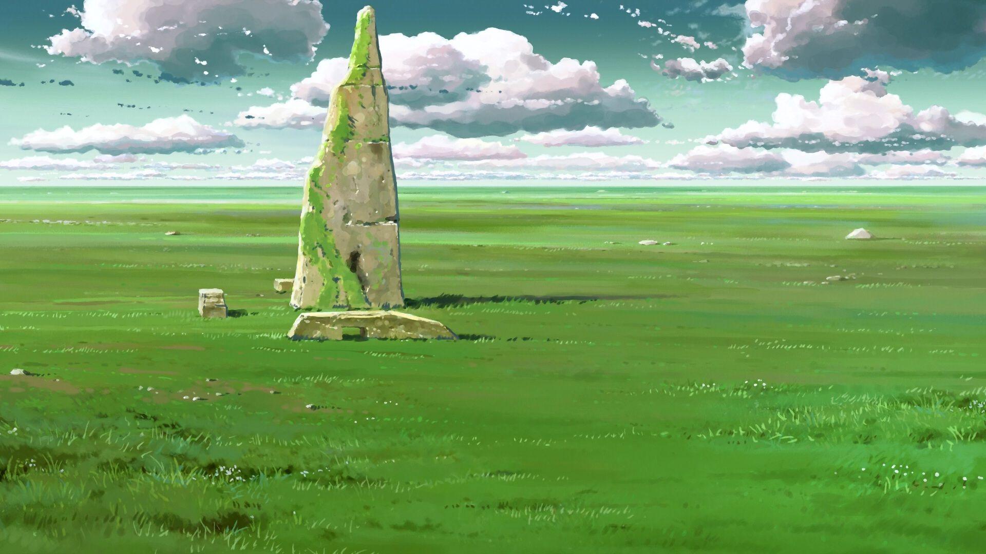 Green Anime Ladscape Hd Wallpaper 1920x1080 Id 56173 Anime Scenery Scenery Wallpaper Anime City