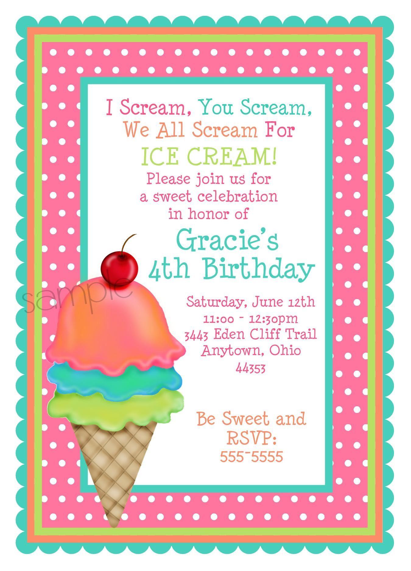 Ice Cream Invitations Ice Cream Cone Invitations Ice Cream