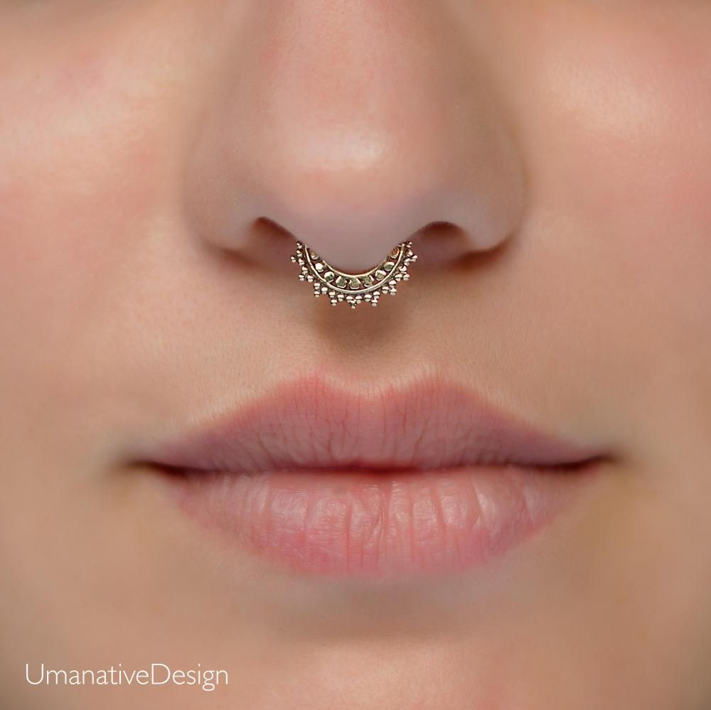 Fake Septum Tribal Nose Ring Brass Non Pierced Clip On Piercing Fashion Jewelry