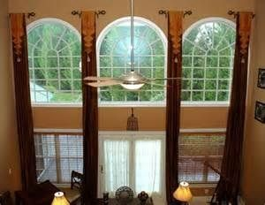 Arched Windows Stationary Side Panels On Truncated Rods