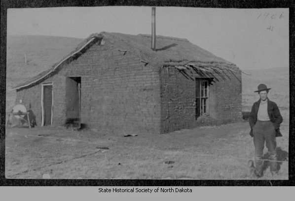 Title Sod House Homestead Morton County N D Date Of Original 1906 Description A Man In A Hat Stands Near His Sod H Green Roof Homesteading Pioneer House