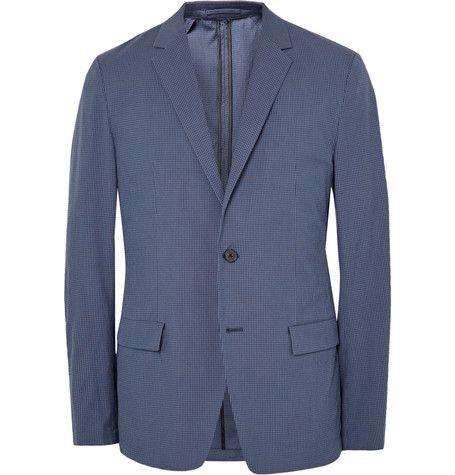 THEORY Blue Simons Slim-Fit Gingham Stretch Cotton-Blend Blazer. #theory #cloth #blazers