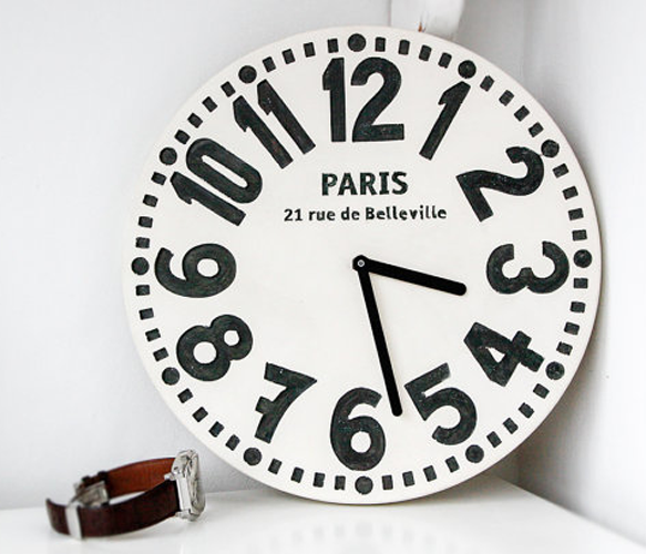 Paris Black White Clock With Images White Clocks Shabby Chic Clock Paris Wall Clock