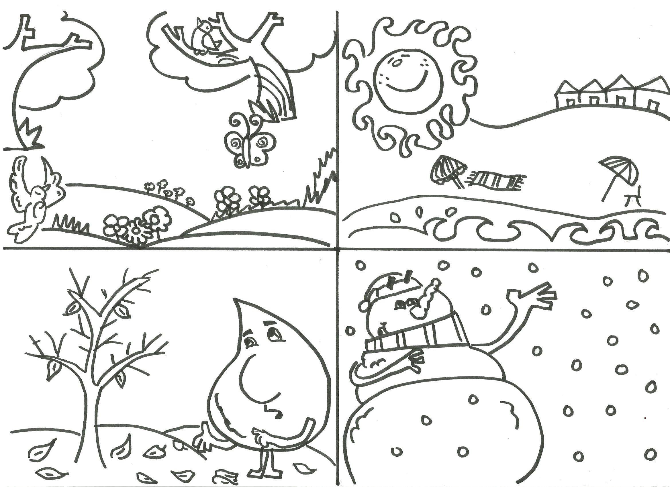 Dibujos Para Pintar De Las 4 Estaciones Del Ano Character Learning Spanish Cards