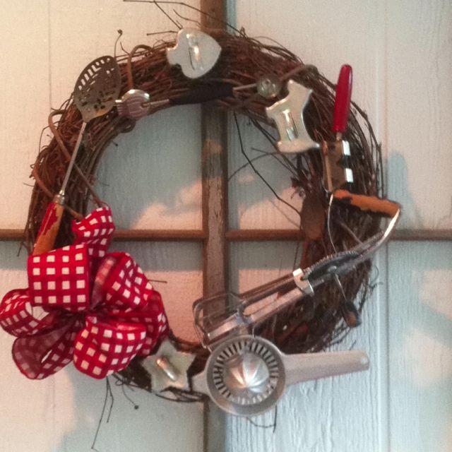 Wreath made with old kitchen utensils   Kitchen wreath ...