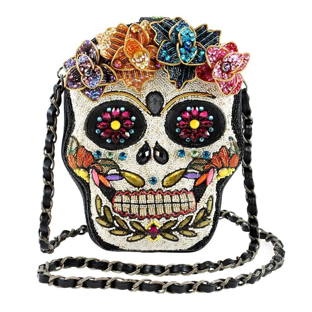 Sugar Rush Beaded Sugar Skull Crossbody Handbag Бисер