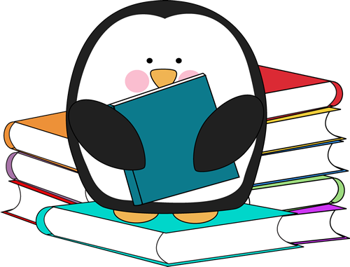 Penguin surrounded by books. Too cute, free clip art in color and ...