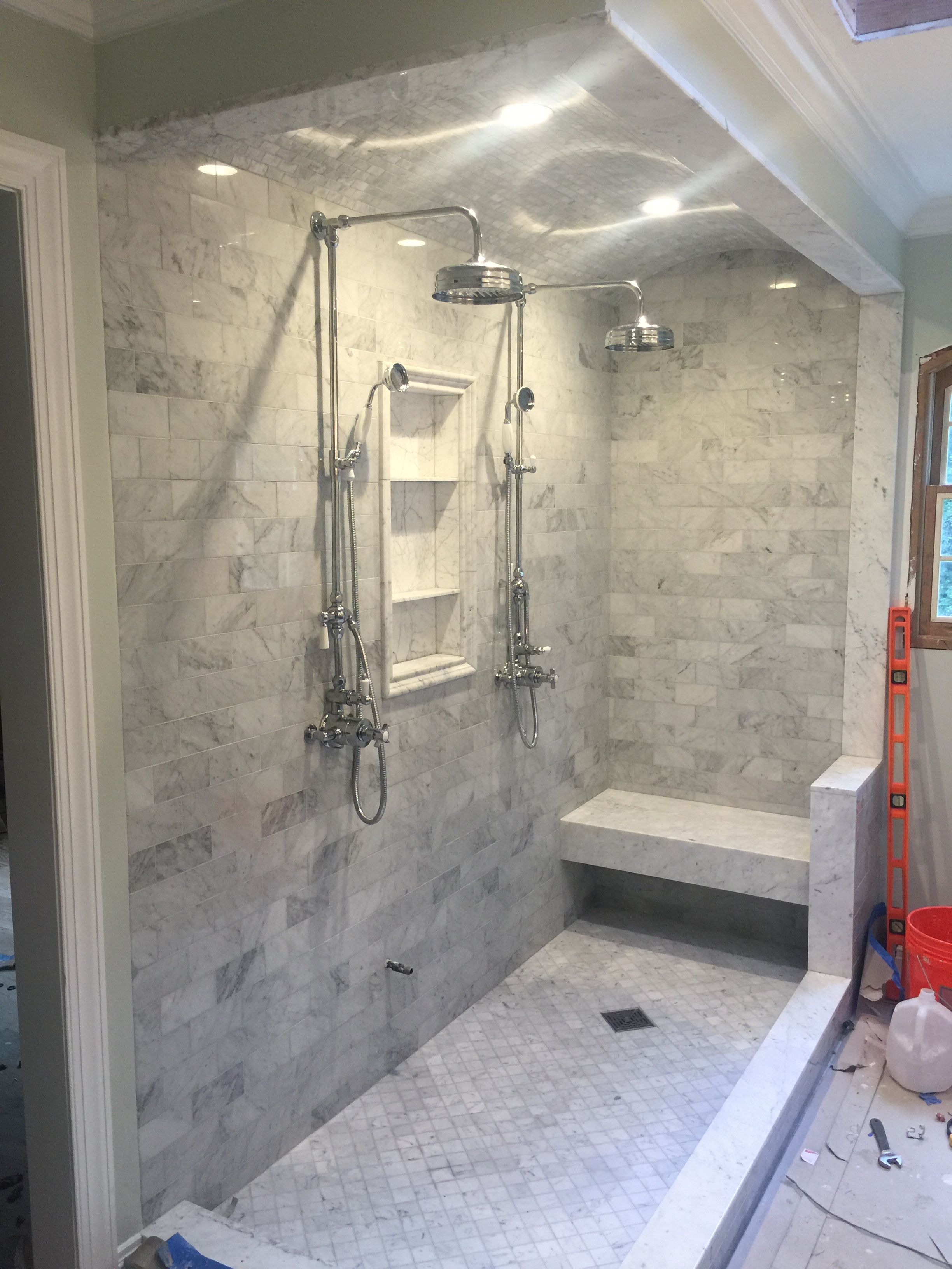 Barrel shower ceiling with dual thermostatic shower heads | Bathroom remodel shower, Bathroom shower tile, Shower remodel