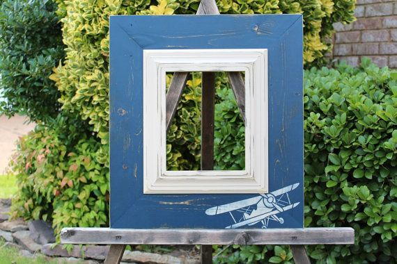 Airplane Distressed Picture Frame Navy Blue / by ShirleyFrames