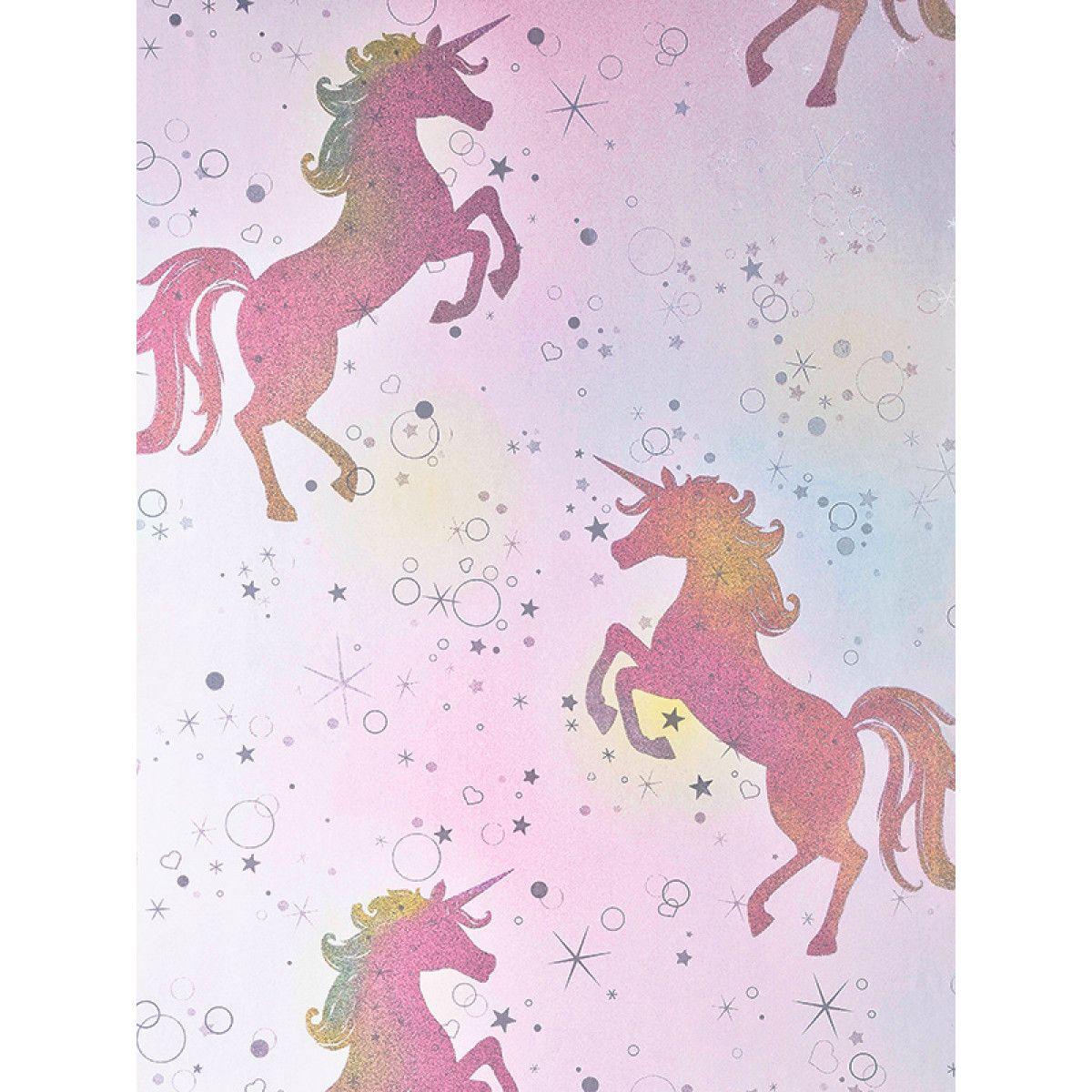Be Dazzled Dancing Unicorn Wallpaper Rainbow Coloroll M1423 Unicorn Wallpaper Glitter Wallpaper Rainbow Wallpaper