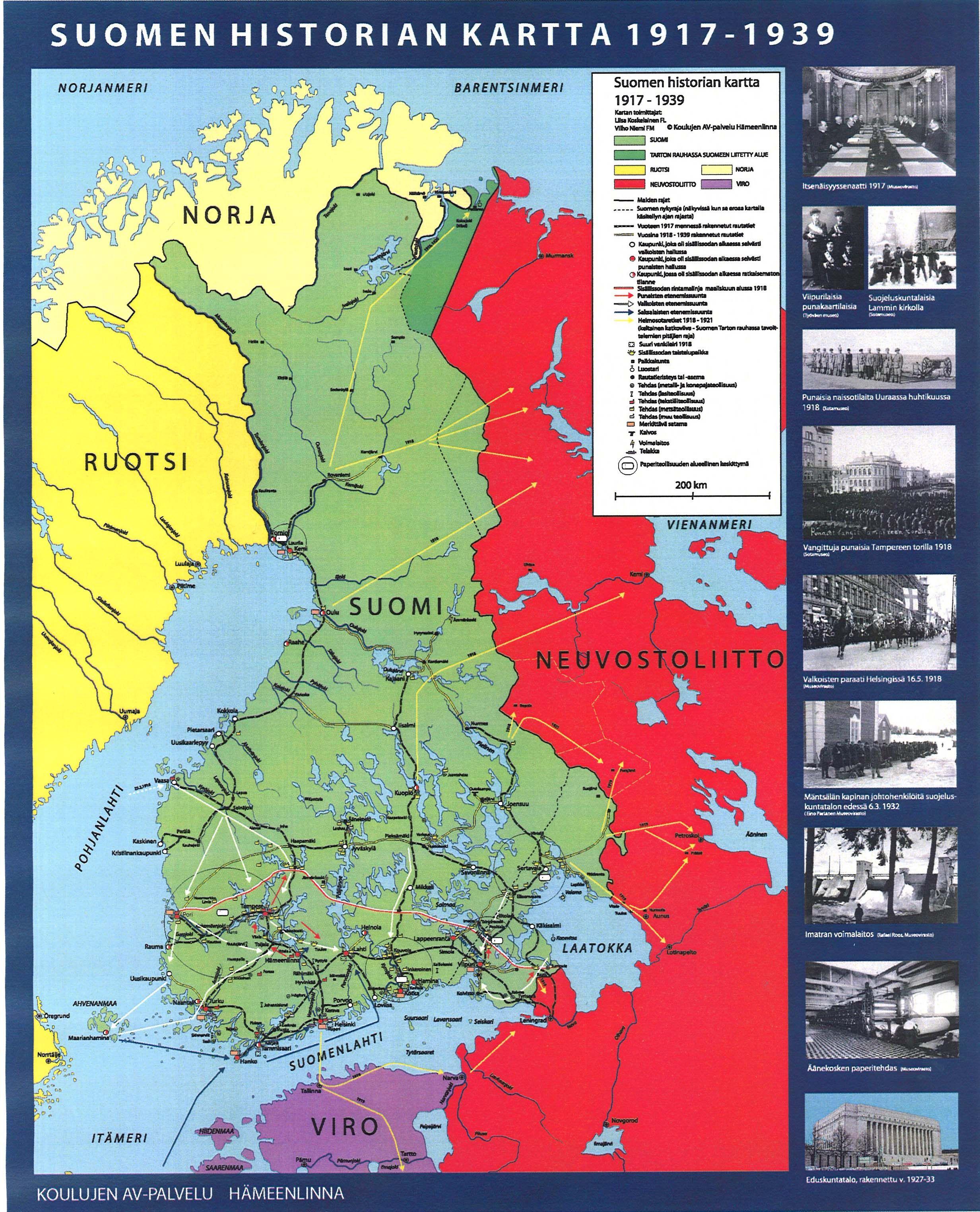 Suomen Historia 1917 1939 Historia Maantiede Kartta