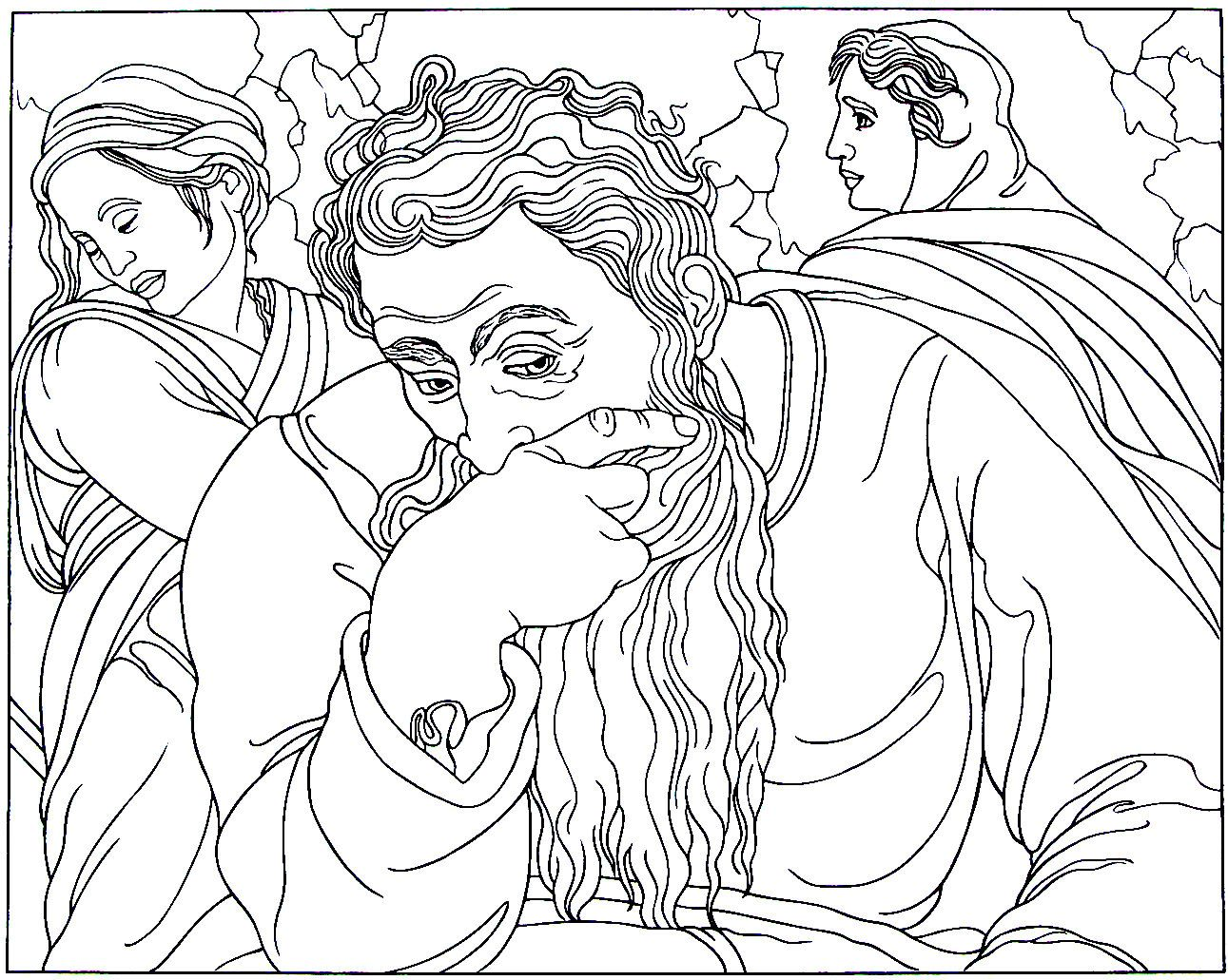 Jeremiah From The Sistine Chapel Painting By Michelangelo Bounarroti Printable Coloring Book Page Free Coloring Pages Dragon Coloring Page Coloring Pages