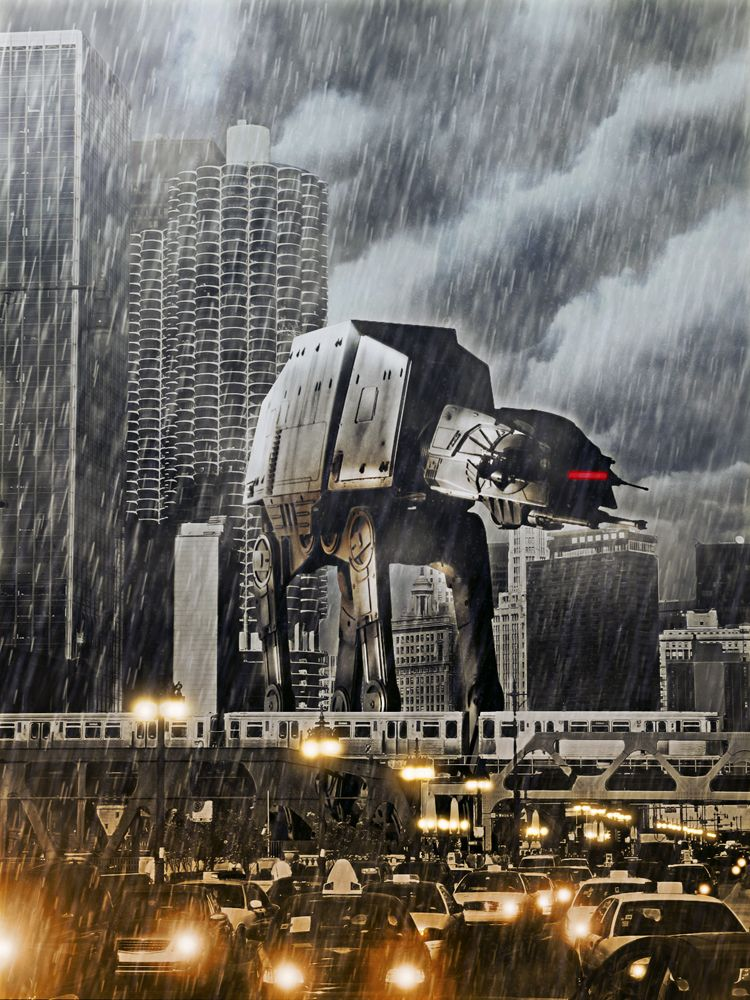 justinrampage:    Artist / designer Tony Bamber released his second Star Wars AT-AT into the streets of Chicago and it doesn't seem to be showing any mercy.  You can check out his first Star Wars killing machine wreaking havoc here.  AT-AT Two by Tony Bamber (Behance) (Facebook) (Twitter)