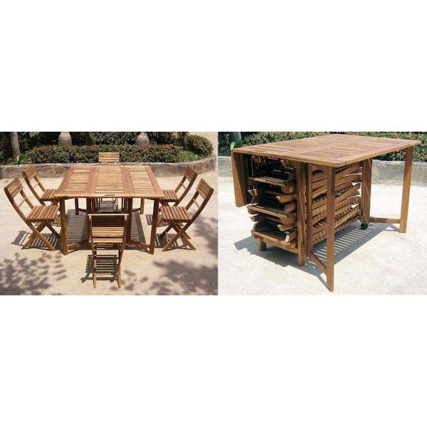 Consolle darwin tavolo quadrato pieghevole n 6 sedie pieghevoli in legno acacia codice 10279 - Tavolo pieghevole con maniglia ...