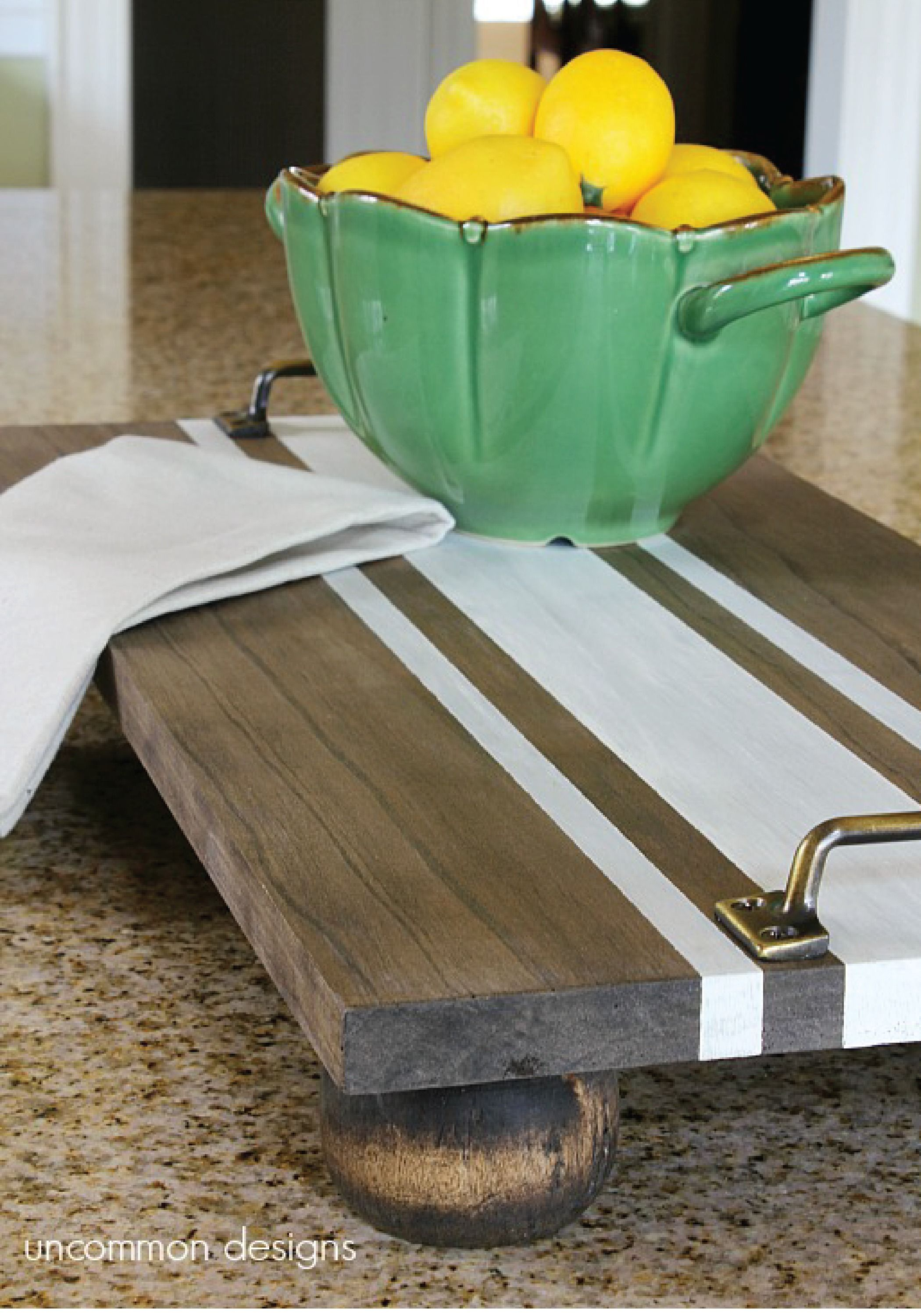 Rustic DIY striped serving tray adds a natural feel to any kitchen.
