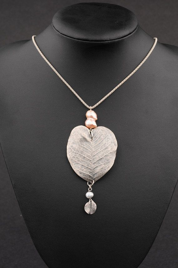 """Long Silver Necklace, Silver  Heart Shaped Leaf Pendant with Pearls - """"Silver Leaf""""  $121.00."""