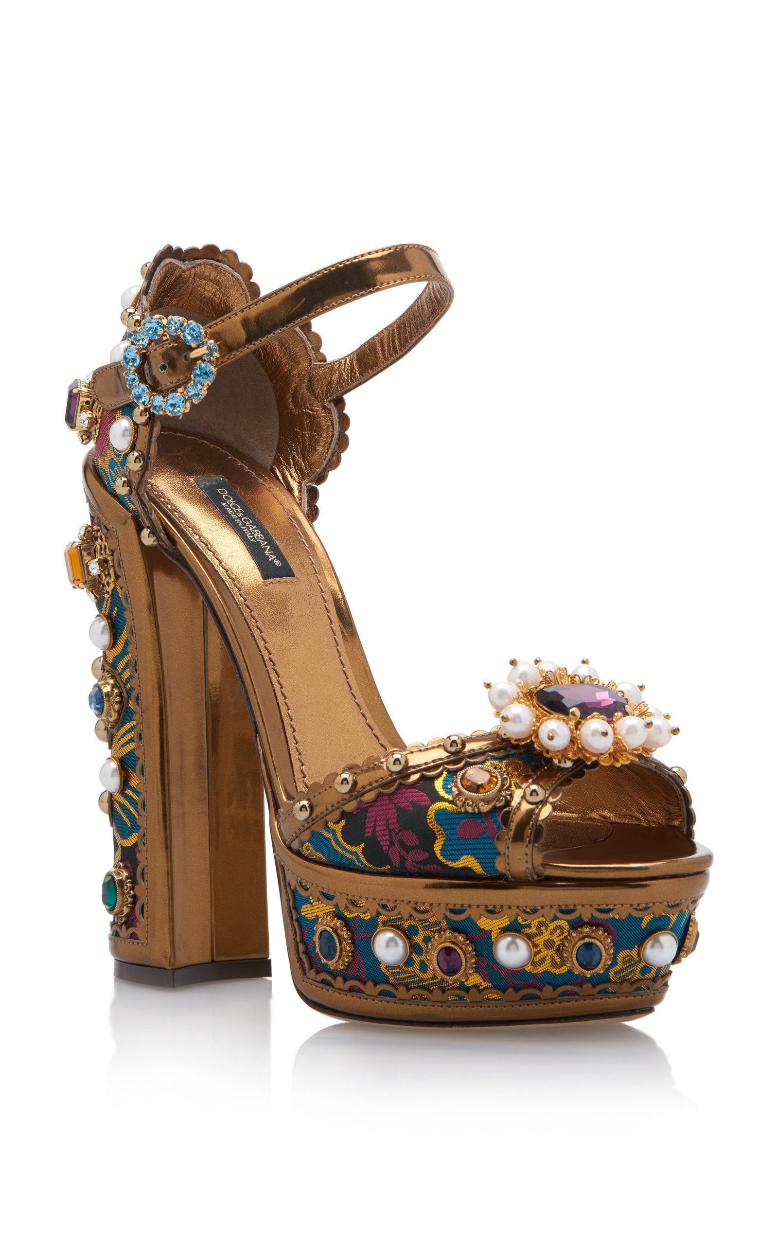 b91d5e04 Jewel-Embellished Metallic Leather Platform Sandals by DOLCE & GABBANA  Now Available on Moda