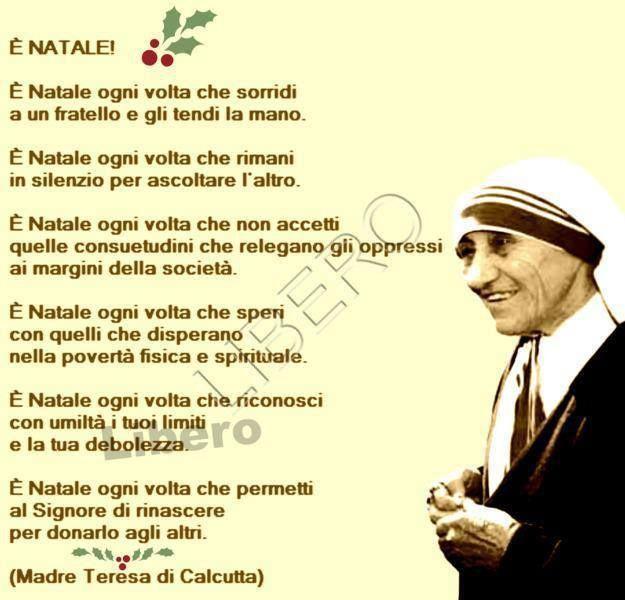 Frasi Auguri Natale Madre Teresa Di Calcutta.Madre Teresa Citazioni Divine Citazioni