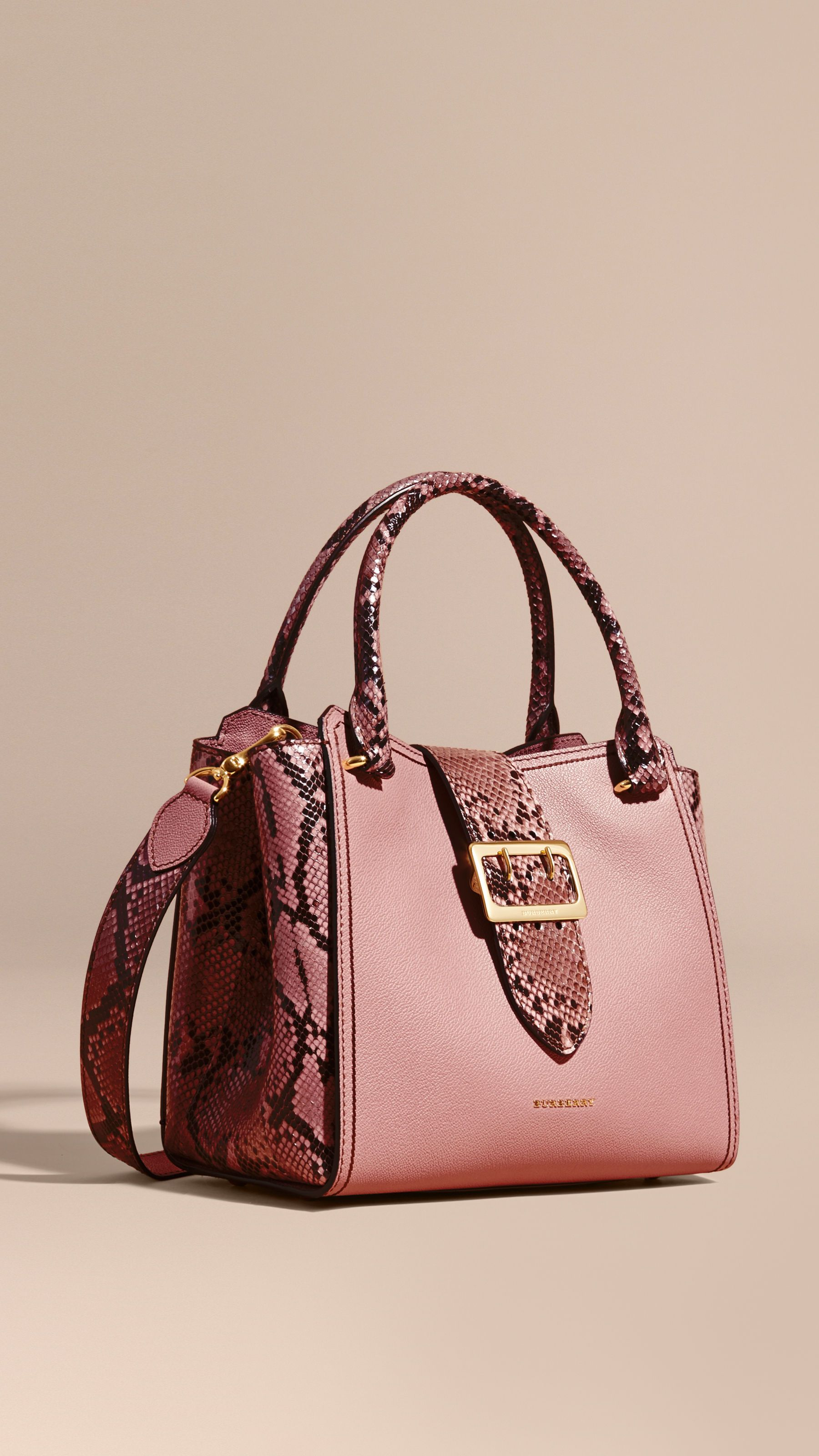 29c72fcb570d The Medium Buckle Tote in Grainy Leather and Python in Dusty Pink ...