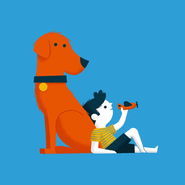 Boy and dog by Ben Aslett #illustration #art #dog #boy #kids #play