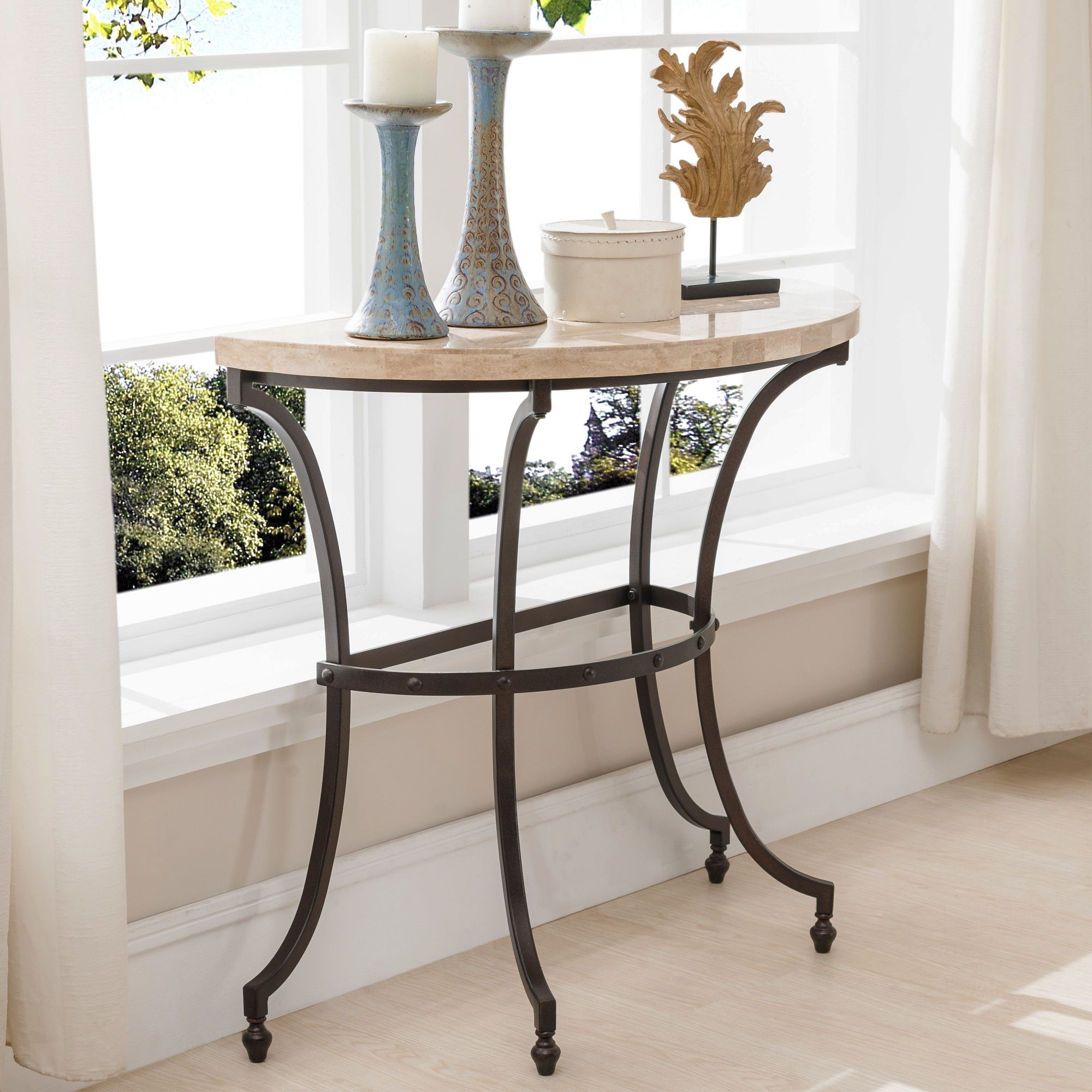 Kd furnishings demilune travertine stone top console table with kd furnishings demilune travertine stone top console table with rubbed bronze metal base geotapseo Gallery