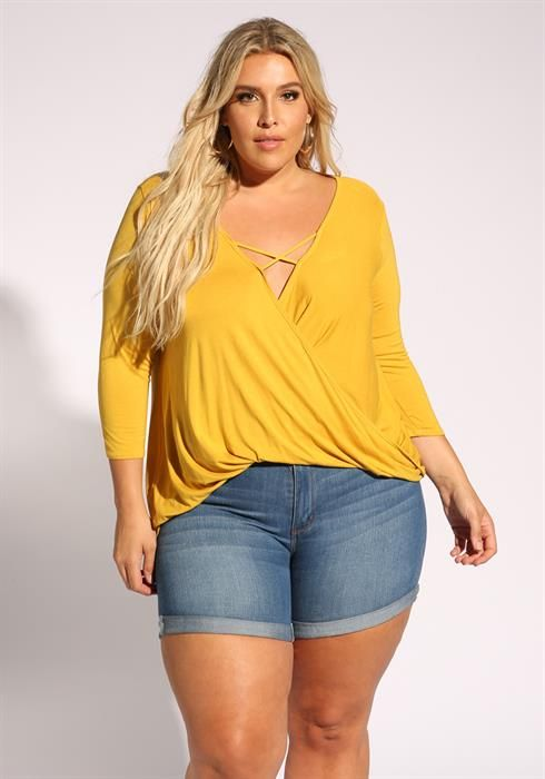 b4f5d054 Plus Size Plunge Cross Strap Knit Top | Plus Size Tops in 2019 | Womens  college fashion, Curvy women fashion, Fashion