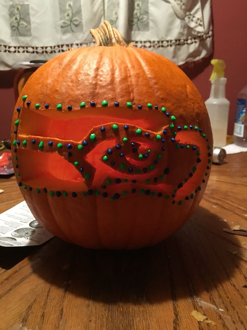 Seahawks pumpkin carving
