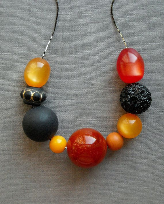 bitches brew  necklace vintage lucite and gunmetal by urbanlegend, $28.00
