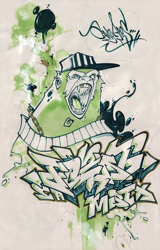 20 Illustration Of The Graffiti Style Cartoon Characters By