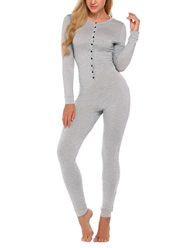 62a4d8365a5 Ekouaer Bandage One Piece Pajama Romper Long Sleeve Jumpsuit Sleepwear For  Women